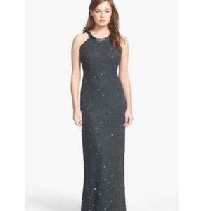 🆕️ Adrianna Papell Caviar grey beaded gown